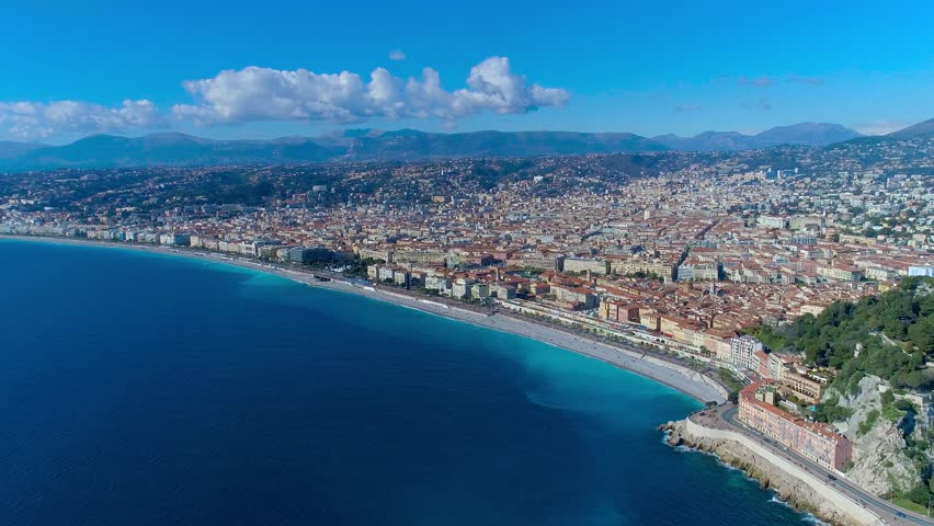 Aerial view of Nice France promenade, Mediterranean Sea and airport view . City panorame. Drone 4K video