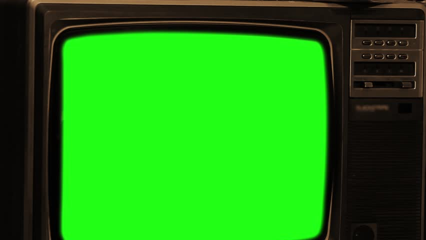 """80s TV With Green Screen. Sepia Tone. Zoom Out Deep. Ready to Replace Green Screen with any Footage or Picture you Want. You Can Do It With """"Keying"""" (Chroma Key) Effect. Full HD. 