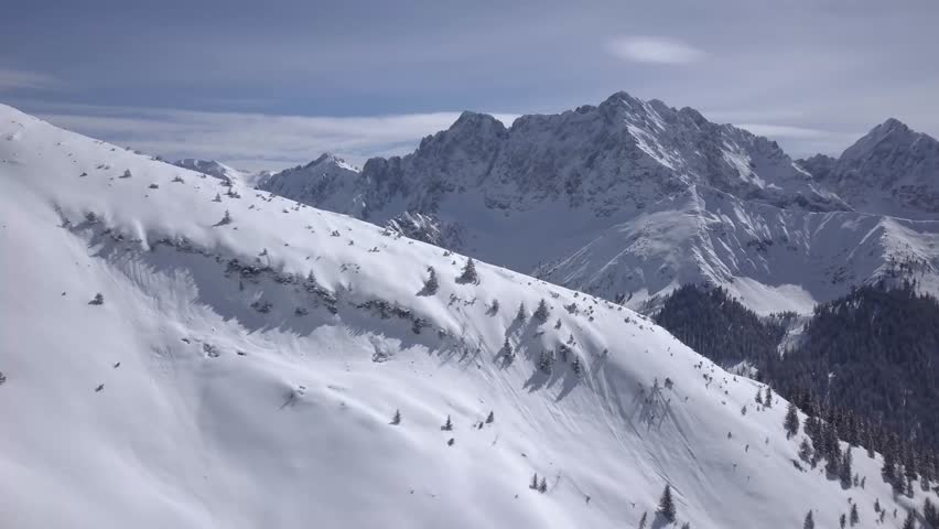 Stunning German alps landscape. Aerial, drone footage.