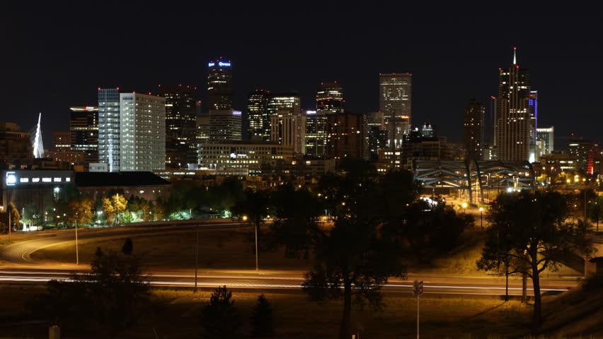 Denver Skyline Night Timelapse