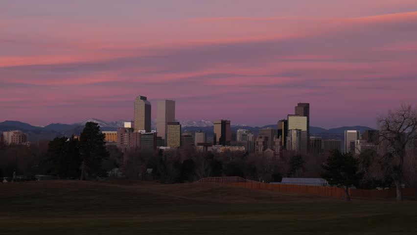 Downtown Denver Wide Shot Sunrise Timelapse