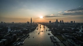 Establishing Aerial View of Tower Bridge, Shard, London Skyline, London, United Kingdom