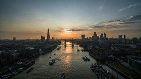 Establishing Aerial View of Tower Bridge, Shard, London Skyline, London, United Kingdom
