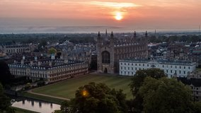 Aerial View of Cambridge UK, United Kingdom