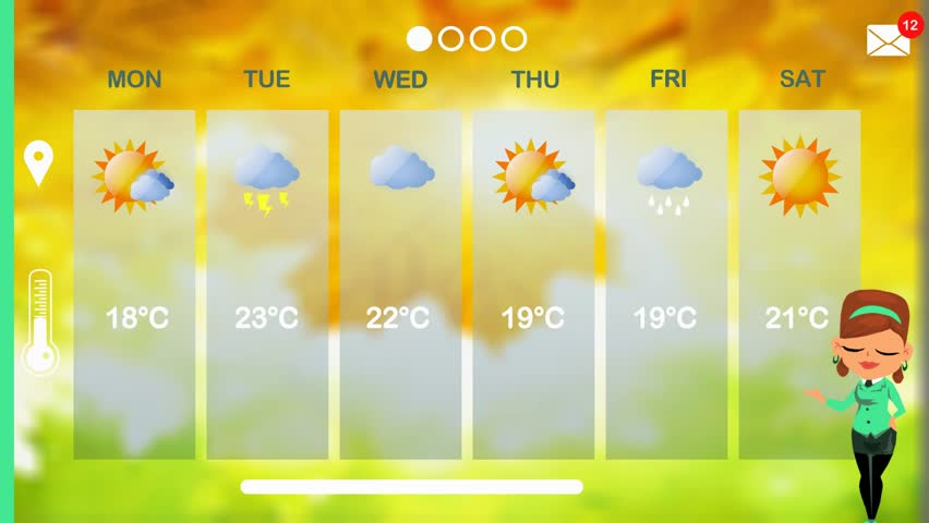 Weather forecast in vector animation | Shutterstock HD Video #1015783687