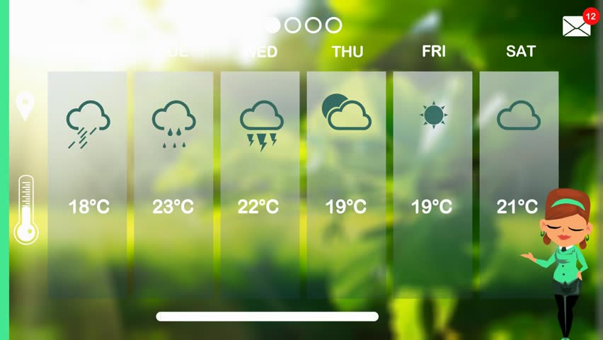 Weather forecast in vector animation | Shutterstock HD Video #1015784344