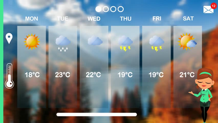 Weather forecast in vector animation | Shutterstock HD Video #1015784371