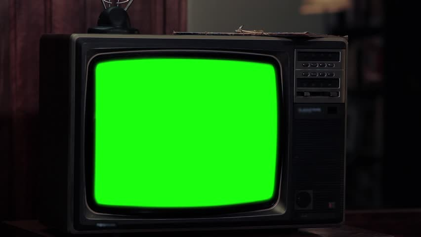 "Vintage TV with Green Screen. Dark Tone. Slow Zoom Out. You can replace green screen with the footage or picture you want. You can do it with ""Keying"" effect in After Effects. 