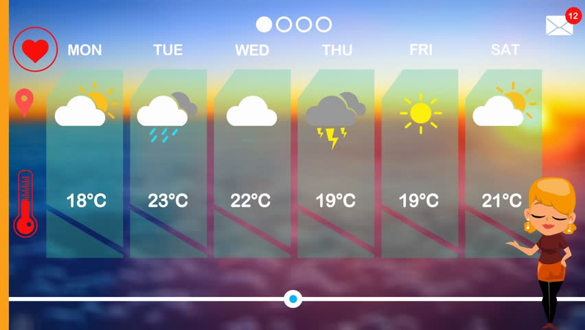 Weather forecast in vector animation | Shutterstock HD Video #1015812046