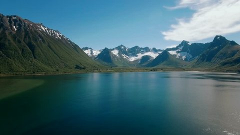 Fjord And Mountain With Snow on the Lofoten Islands, Norway -