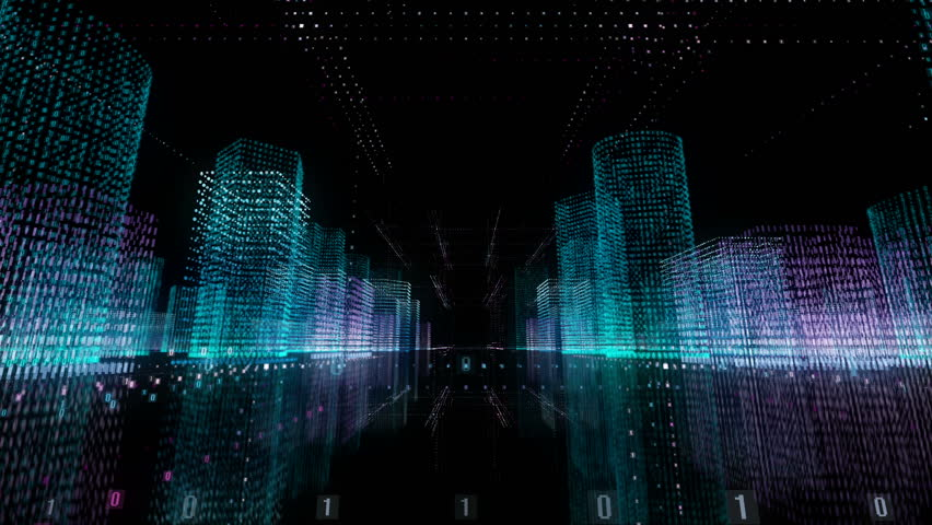 Abstract city of the future. Megapolis virtual reality glasses 3D | Shutterstock HD Video #1015842388