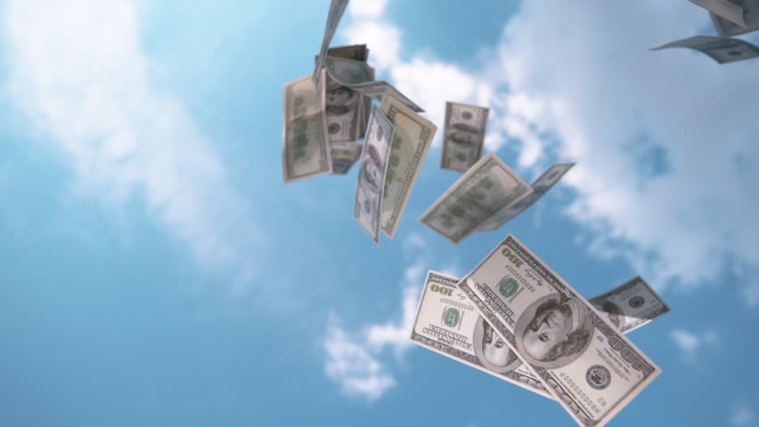 SLOW MOTION, CLOSE UP: $ Money falling from the sky. Hundred dollar bills falling down from blue skies. Successful business bringing piles of money. Profitable job and big salary. Winning the lottery | Shutterstock HD Video #1015854811