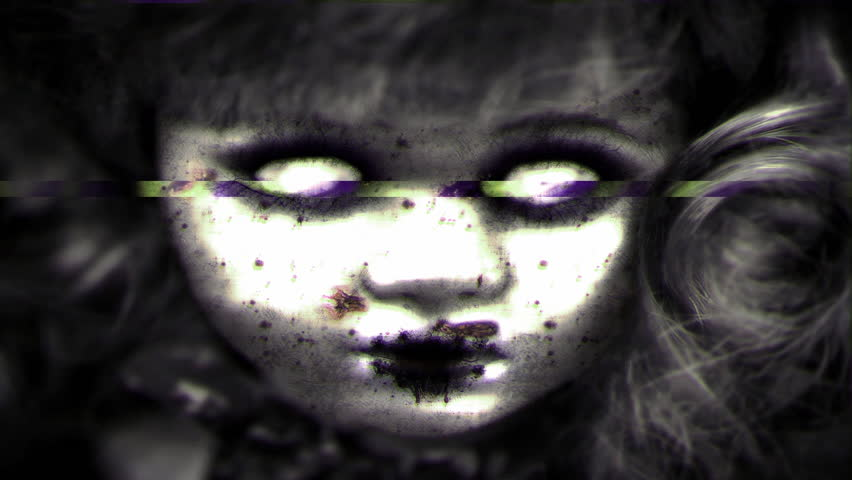 Closeup of creepy horror doll with pitted blood stained face stares with vacant glowing white eyes with glitch jitter shaky effect