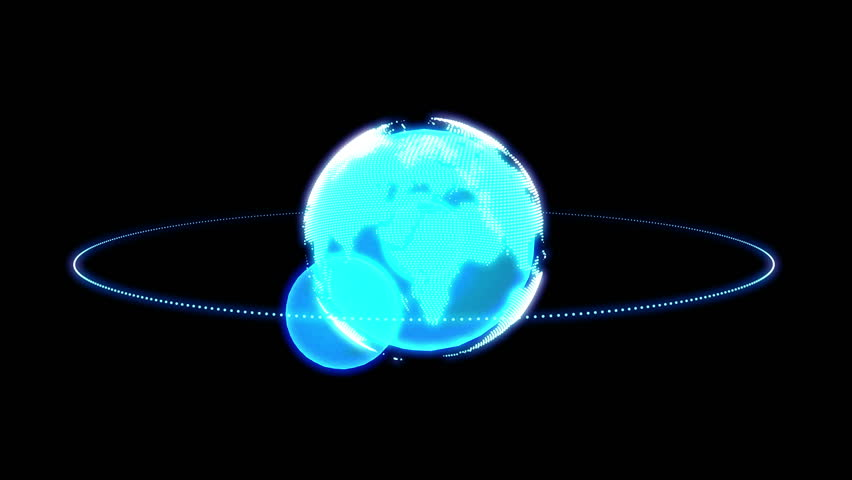 Digital data globe and satellite. Futuristic rotate planet for interface. Loopable animation on black background. | Shutterstock HD Video #1015886284
