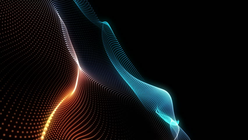 Abstract loopable blue and red cg motion waving dots texture with glowing defocused particles. Cyber or technology digital landscape background. 3840x2160 4k uhd