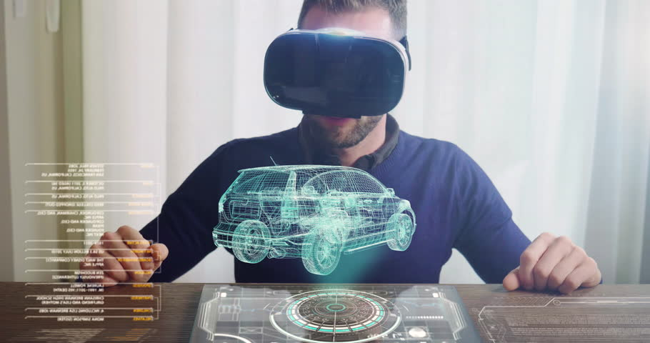 An engineer designs an electric car using sophisticated and futuristic programs with holography. Concept of: cars, future, project and augmented reality. Royalty-Free Stock Footage #1015897870