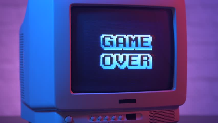 Game Over flashing on a retro video game TV from the 80s or 90s. Vintage CRT screen in a 1980 1990 visual style.