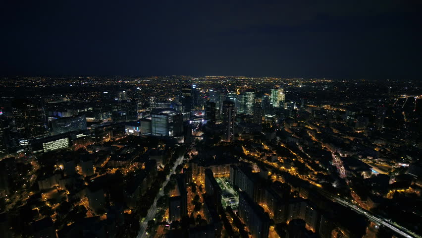 Aerial France Paris Financial District August 2018 Night 30mm 4K Inspire 2 Prores  Aerial video of the financial district in Paris France at night.