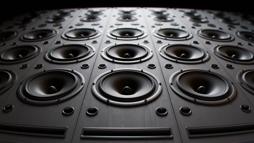 Modern speakers playing, stacked in an endless wall pattern loop. Powerful membranes in closeup, vibrate in even frequencies suggesting loud, high decibel music. Audiophile electronic equipment.  Royalty-Free Stock Footage #1015905025