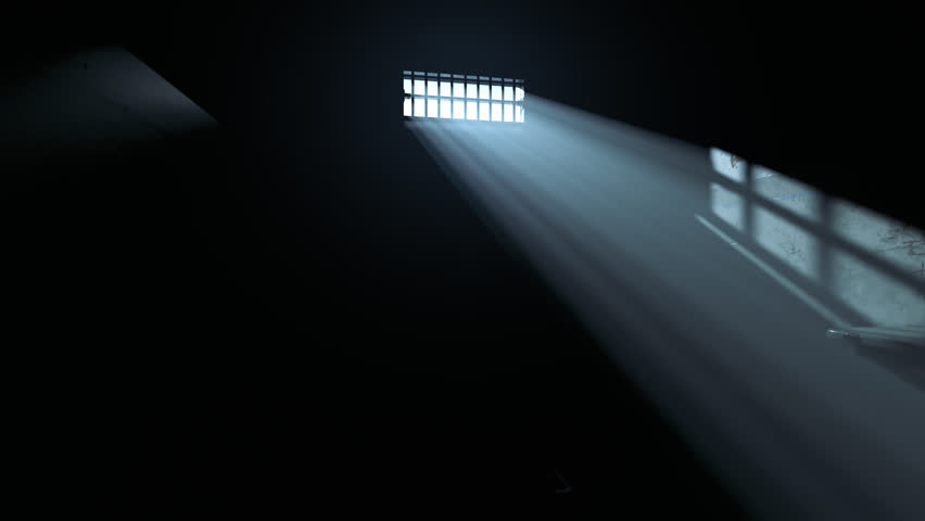 Animation of a prison cell interior in a fog. Light coming through a barred window.  | Shutterstock HD Video #1015905667