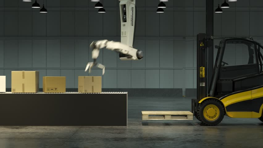 Modern, advanced, robot arm loading and stacking cargo boxes from the line onto a forklift inside a vast warehouse. Fast, slick and efficient and sophisticated piece of technology working effortless.  Royalty-Free Stock Footage #1015905718