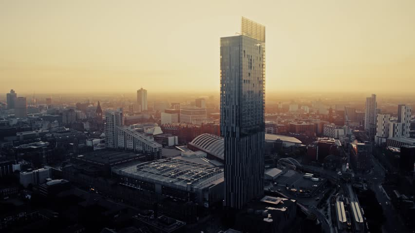 Aerial View of Manchester UK, United Kingdom