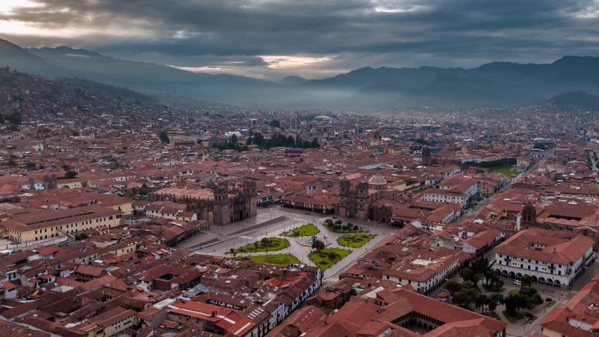 Establishing Aerial View of Cusco, Peru