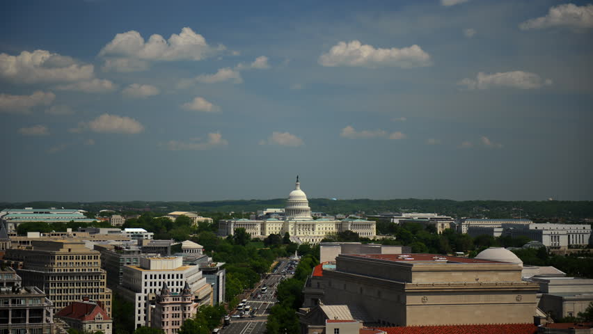 Time Lapse Aerial of Washington DC Us Capitol Car Traffic on Pennsylvania Avenue