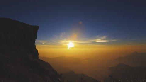 Travel of Phu Chi Fa with Sunrise and Foggy Landscape, Chiang Rai Province,Thailand.
