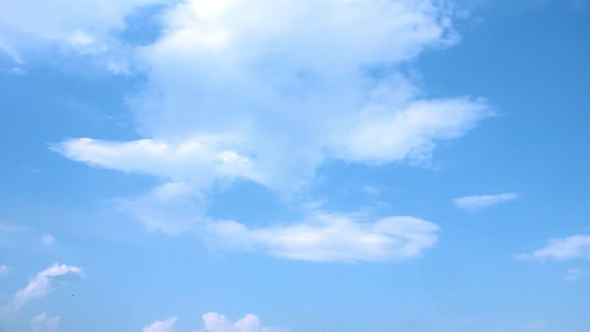 Summer lightness day, time lapse beautiful white formating clouds, soft relaxing blue sky in horizon, panoramic view.