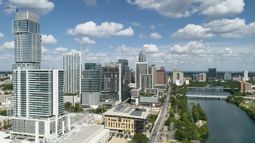 Downtown Austin Texas Aerial Beautiful Clouds