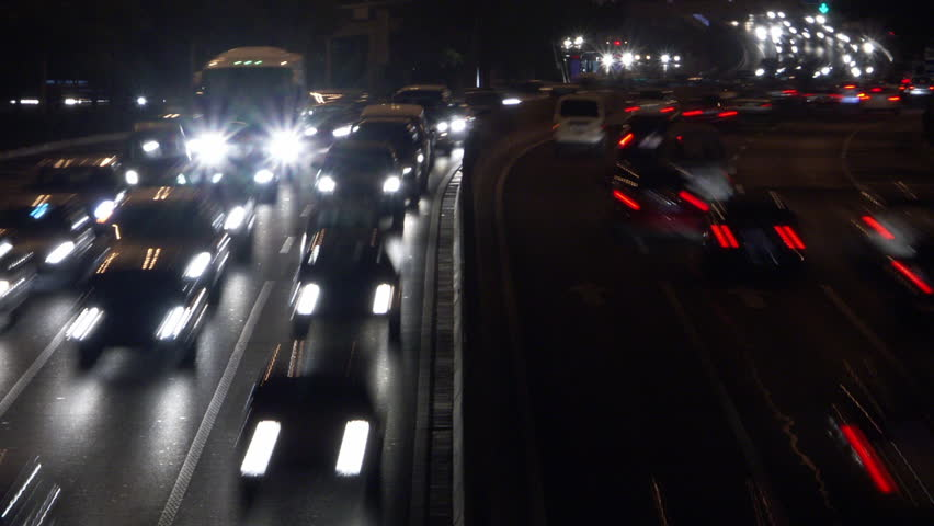 Timelapse day to night of traffic in Beijing China #1015962529
