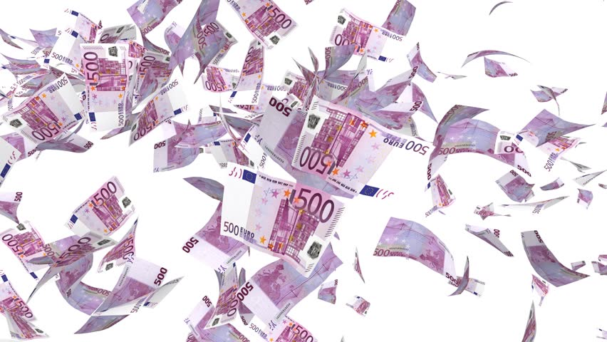 Flying 500 Euro banknotes in fast motion isolated on a white background. Money is flying in the air. UltraHD, 4K, 60fps. High quality flying Euro banknotes