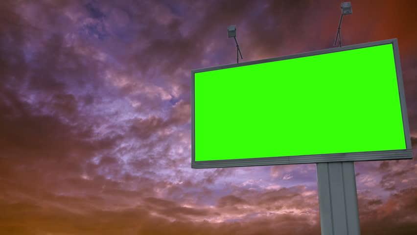 Billboard green screen chromakey on sky background | Shutterstock HD Video #1015988071