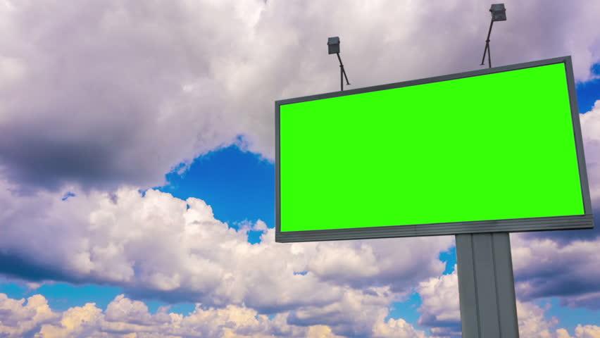 Billboard green screen chromakey on sky background | Shutterstock HD Video #1015988074