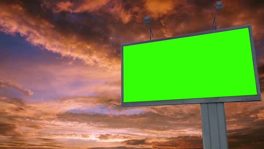 Billboard green screen chromakey on sky background | Shutterstock HD Video #1015988077