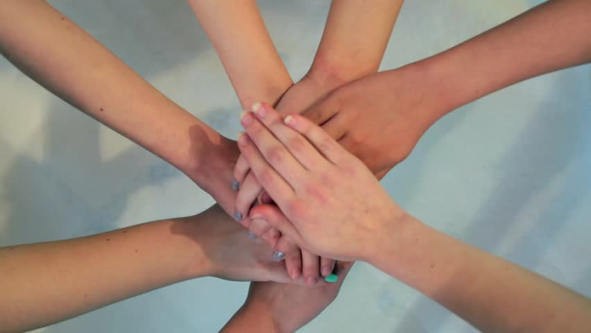 Top view close-up of baby hands together. #1016009695