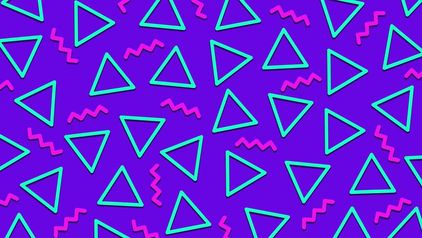 Retro abstract 80's 90's design pattern background. Memphis style with geometrical shapes of different vintage colors. Seamless 4k pop art design.