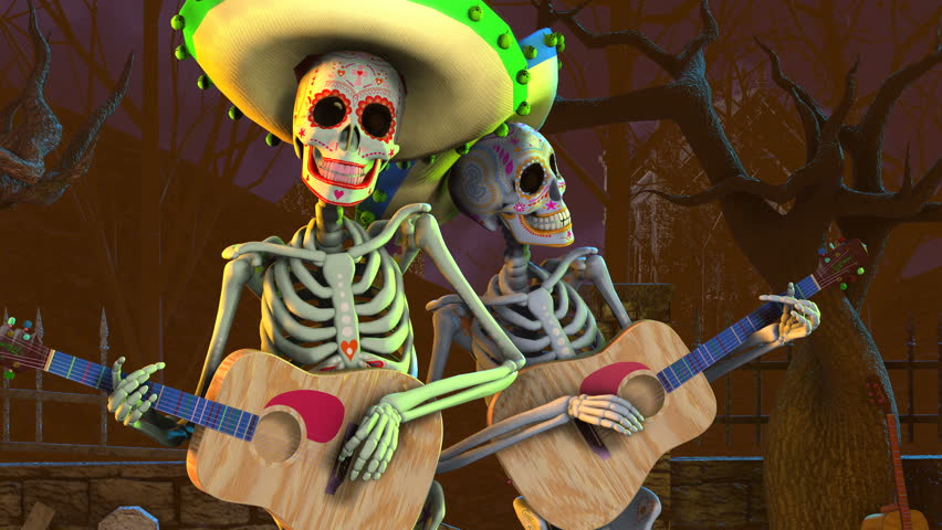 Seamless animation mexican sugar skeletons playing guitar in a graveyard. Funny Halloween 4K background.