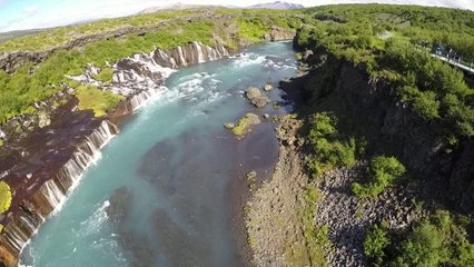 The Hraunfossar waterfalls are the most unique in Iceland, the land of waterfalls. Hraunfoss is neither large nor powerful, nor is it very narrow and really high.