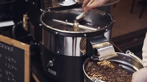 Slow Motion, Cleaning The Coffee Roaster From Beans