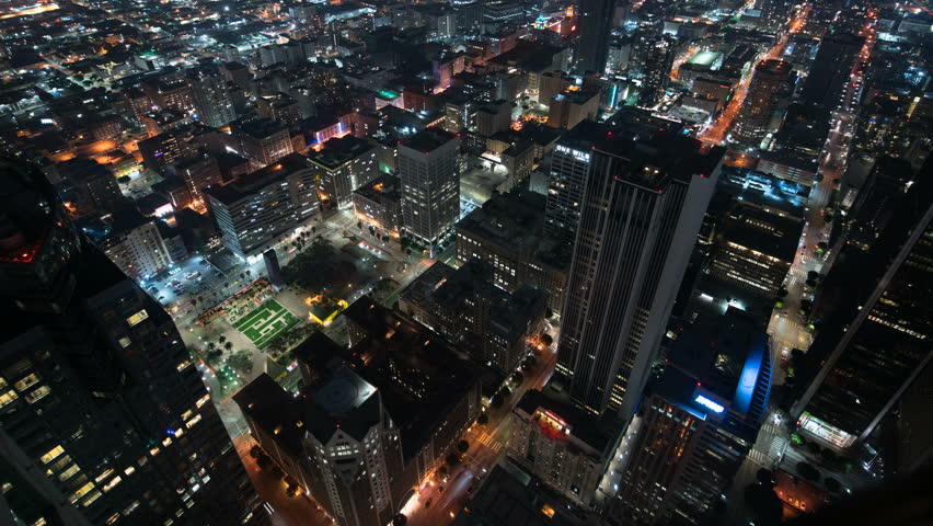 Aerial Time Lapse of Los Angeles Downtown City Grids and Busy Traffic | Shutterstock HD Video #1016095531