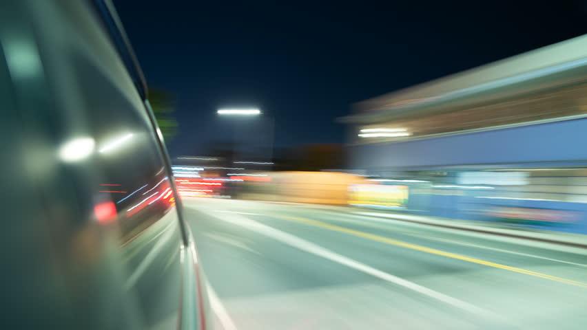 Driving Hyperlapse Rear View Window Reflections VJ Loop Los Angeles Downtown | Shutterstock HD Video #1016095738