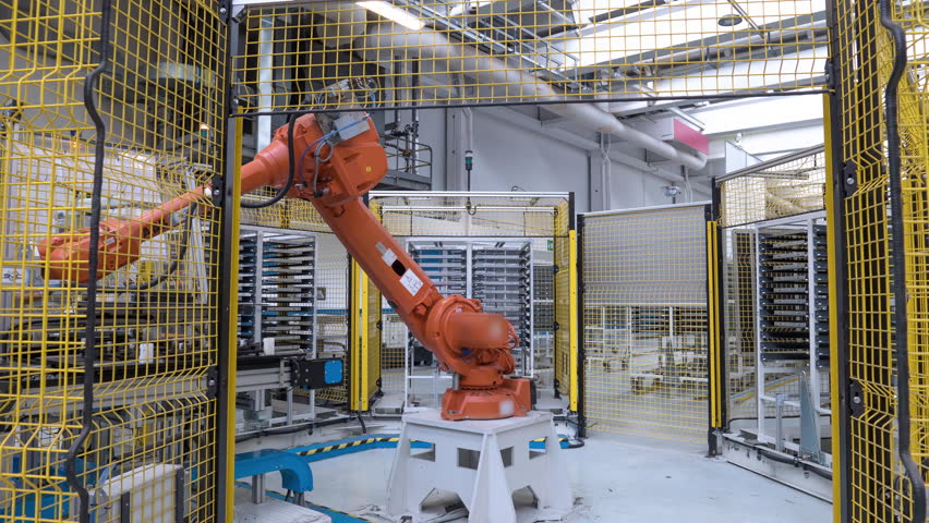 Automated industrial robot, 4th industrial revolution. 4k time lapse video Royalty-Free Stock Footage #1016100112