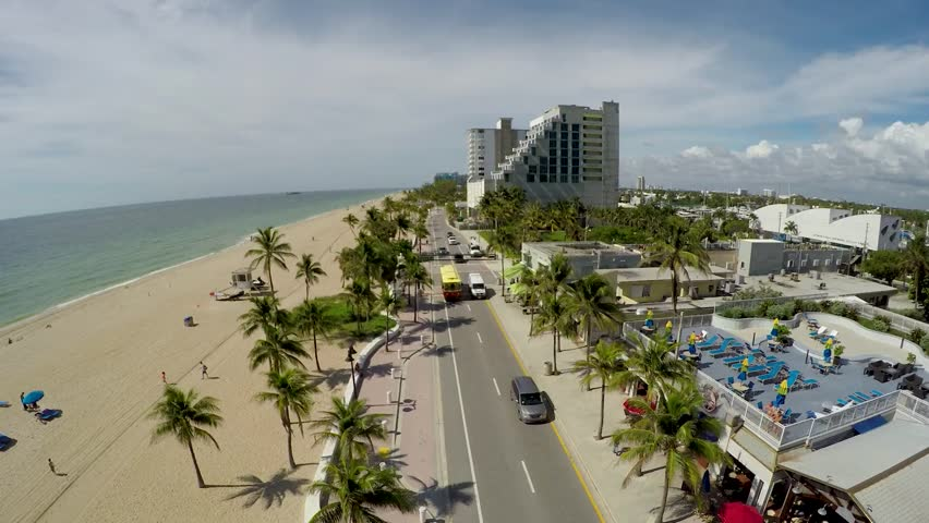 Fort Lauderdale Beach Strip Aerial South   Shutterstock HD Video #1016107843