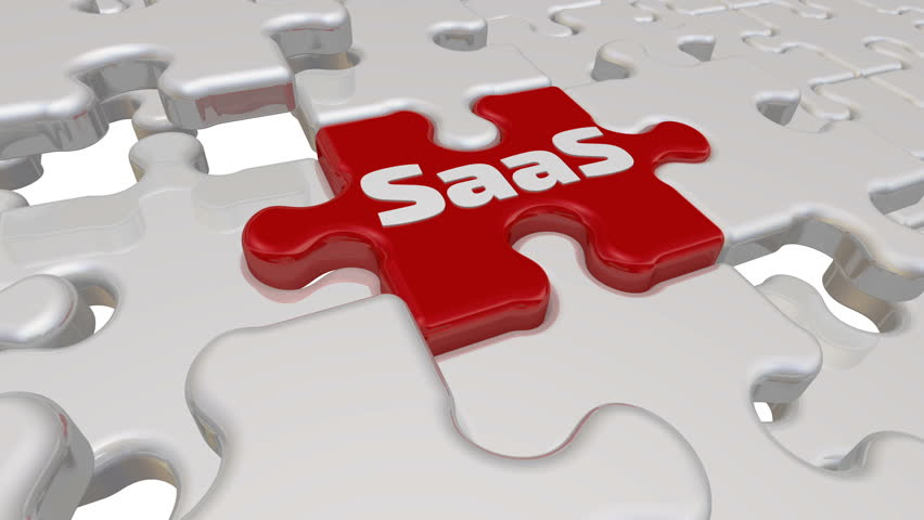 SaaS. The inscription on the missing element of the puzzle. Folding white puzzles elements and one red with word SaaS (Software as a Service). Footage video Royalty-Free Stock Footage #1016122117