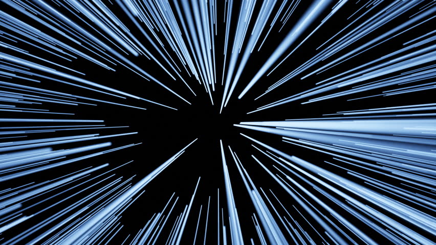 Slowing flying through space then jumping into hyperspace at light speed then coming back out of hyperspace.