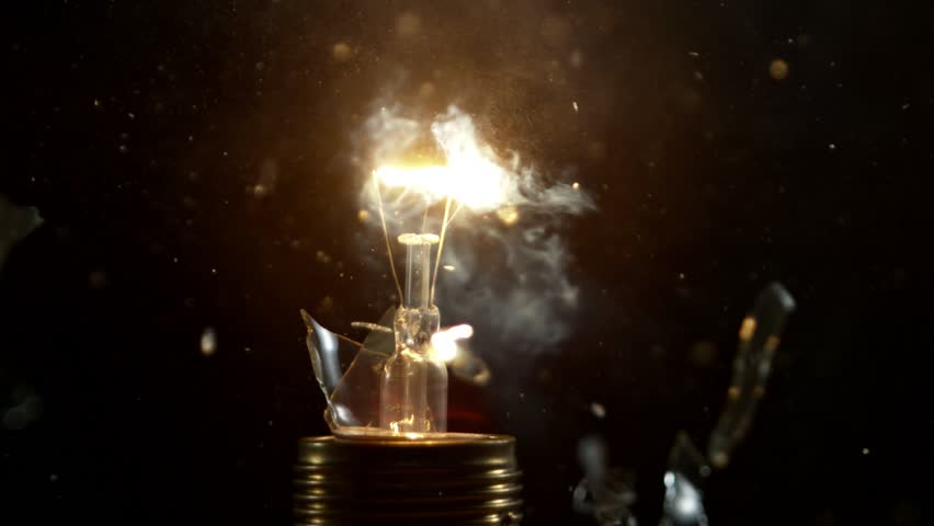 Super slow motion shot of bulb explosion, shooted with high speed cinema camera at 2000 fps. | Shutterstock HD Video #1016131948