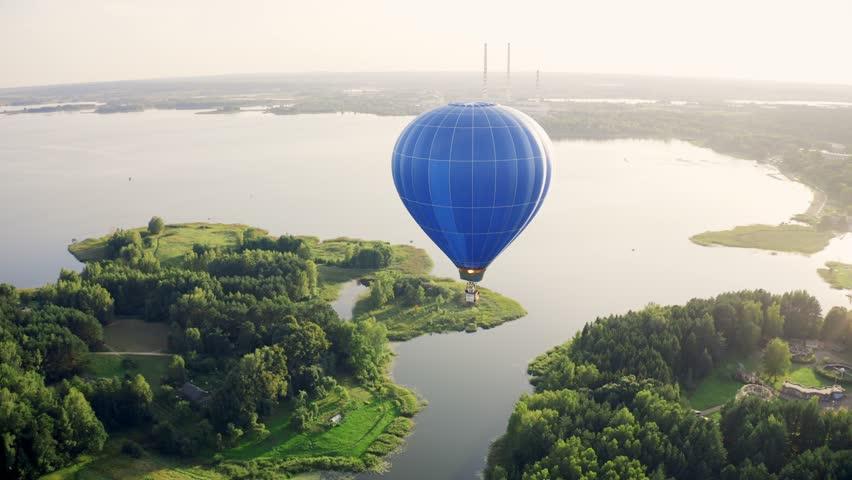 Hot Air Balloon Above Lake City, Aerial View