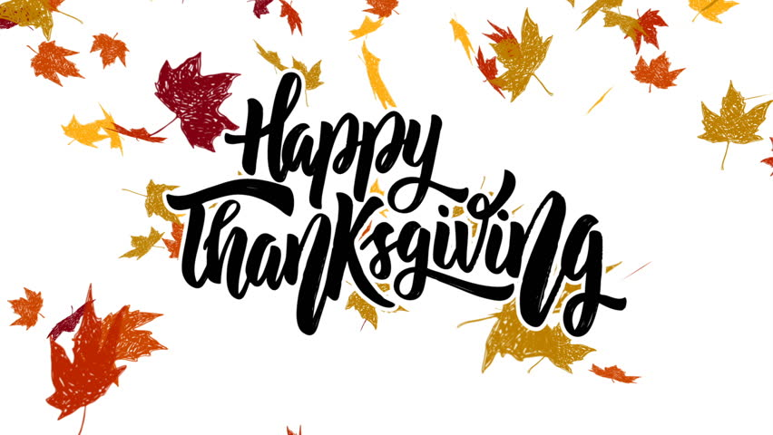 Happy Thanksgiving. Animated Card with falling autumn leaves.
